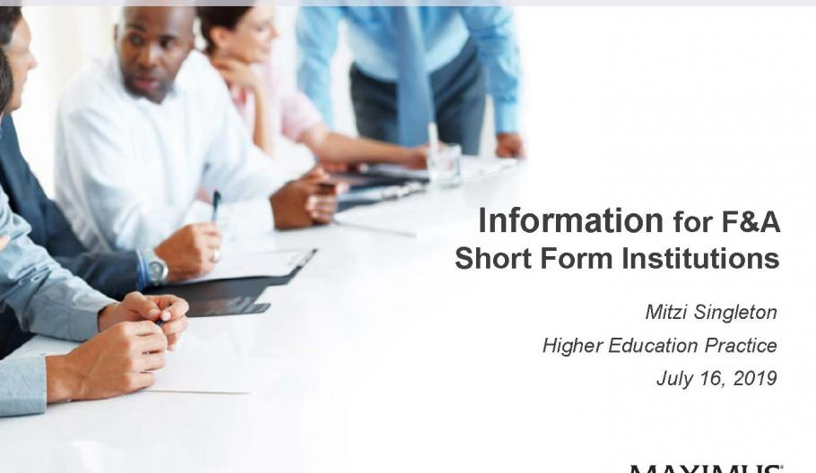 Information for F&A Short Form Institutions